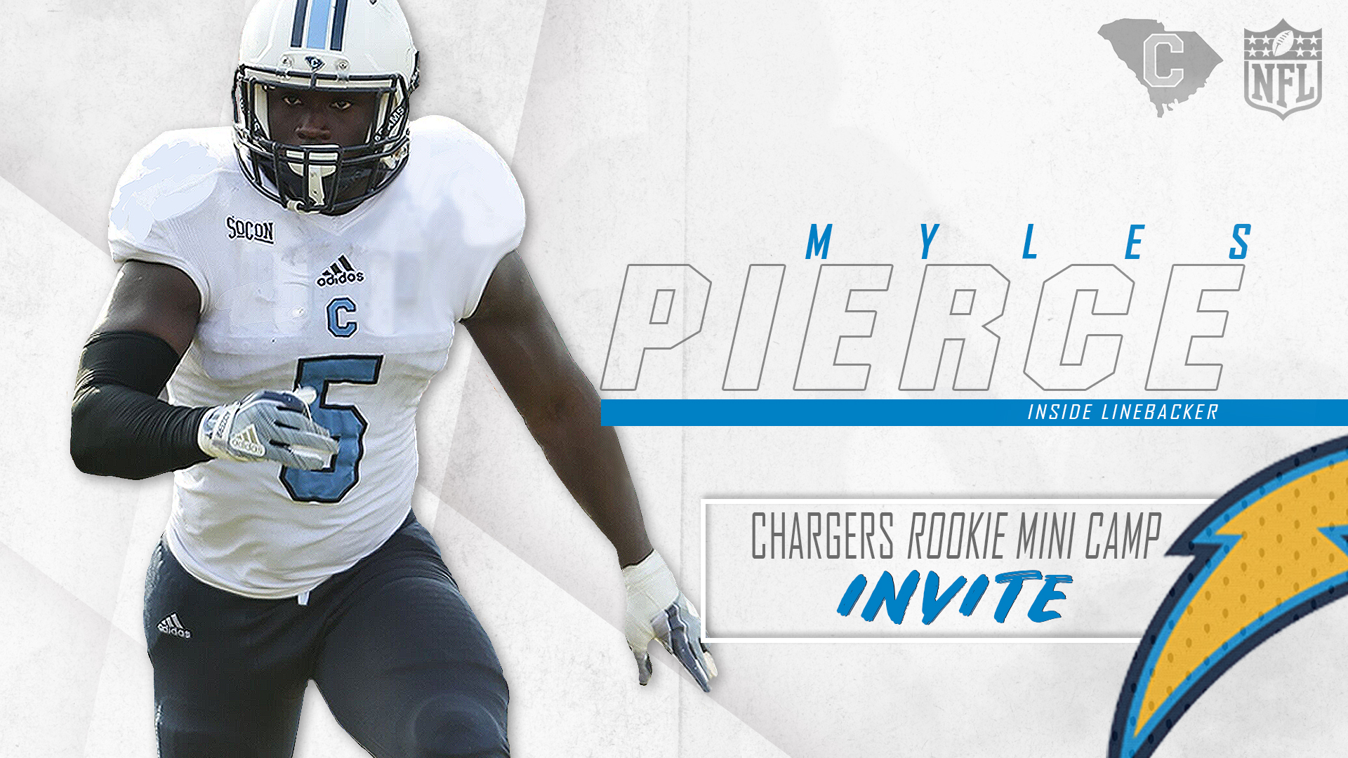 793ee8d1 Pierce Invited to Chargers Rookie Mini Camp - The Citadel Athletics