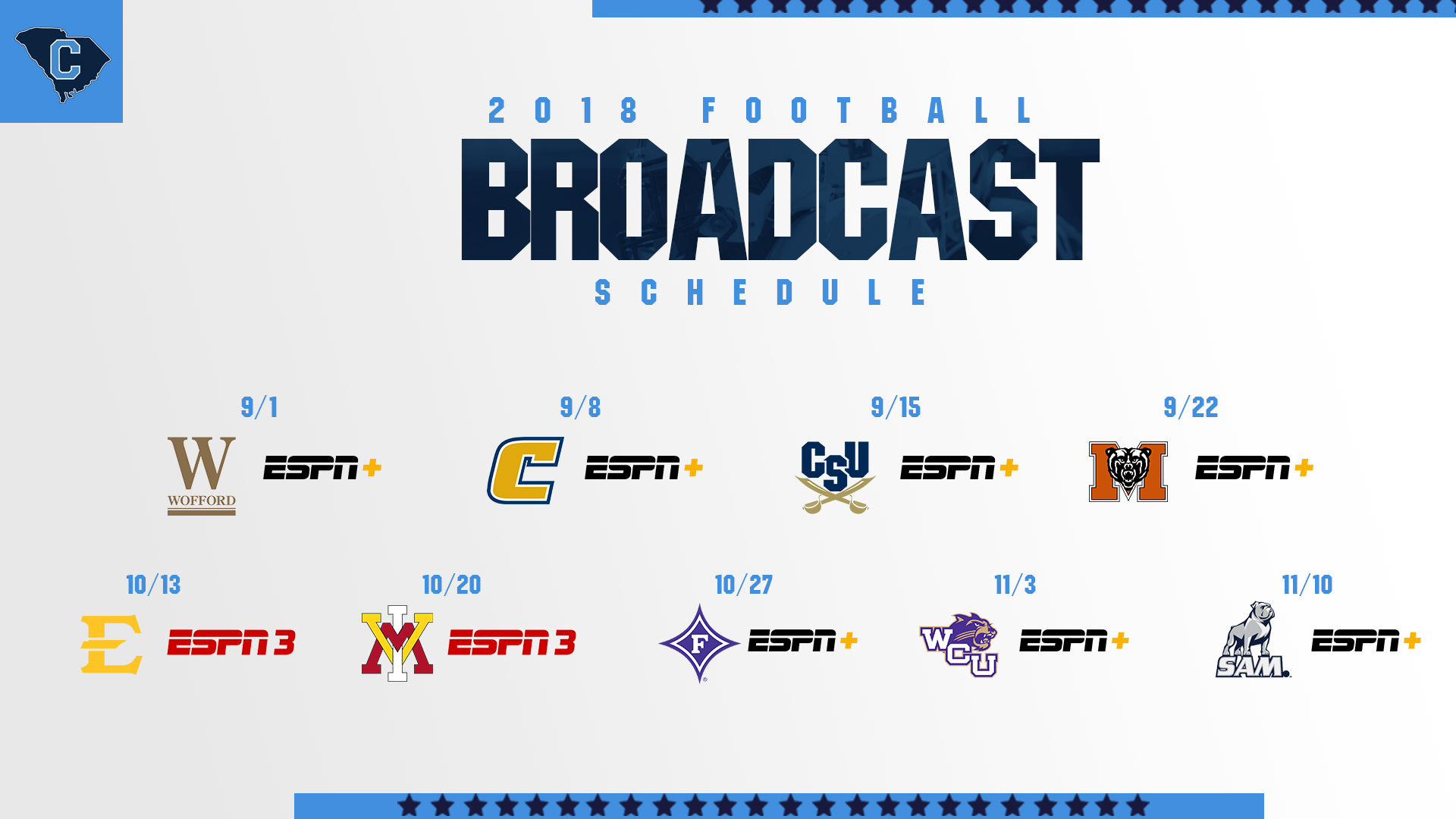 Football TV Schedule Announced - The Citadel Athletics